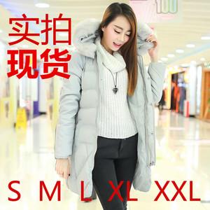 实拍冬装新款韩版中长款加厚大毛领羽绒服修身外套女羽绒衣潮