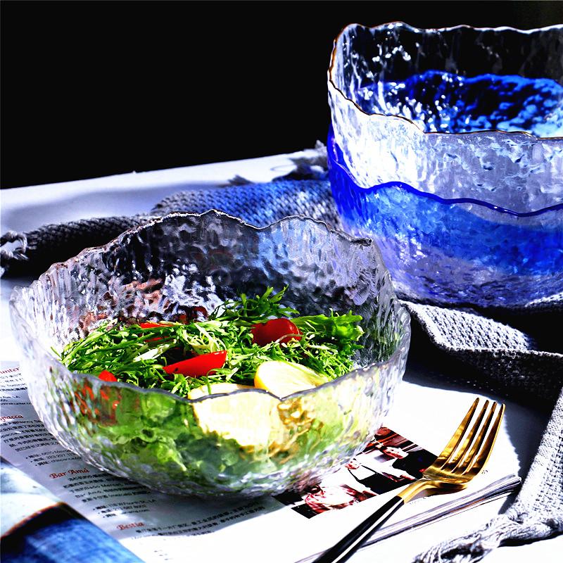 日式锤目纹金边透明玻璃碗创意餐具家用大号不规则水果蔬菜沙拉碗