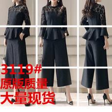 2018新款大码女装春装气质时髦套装女洋气胖mm阔腿裤两件套显瘦潮