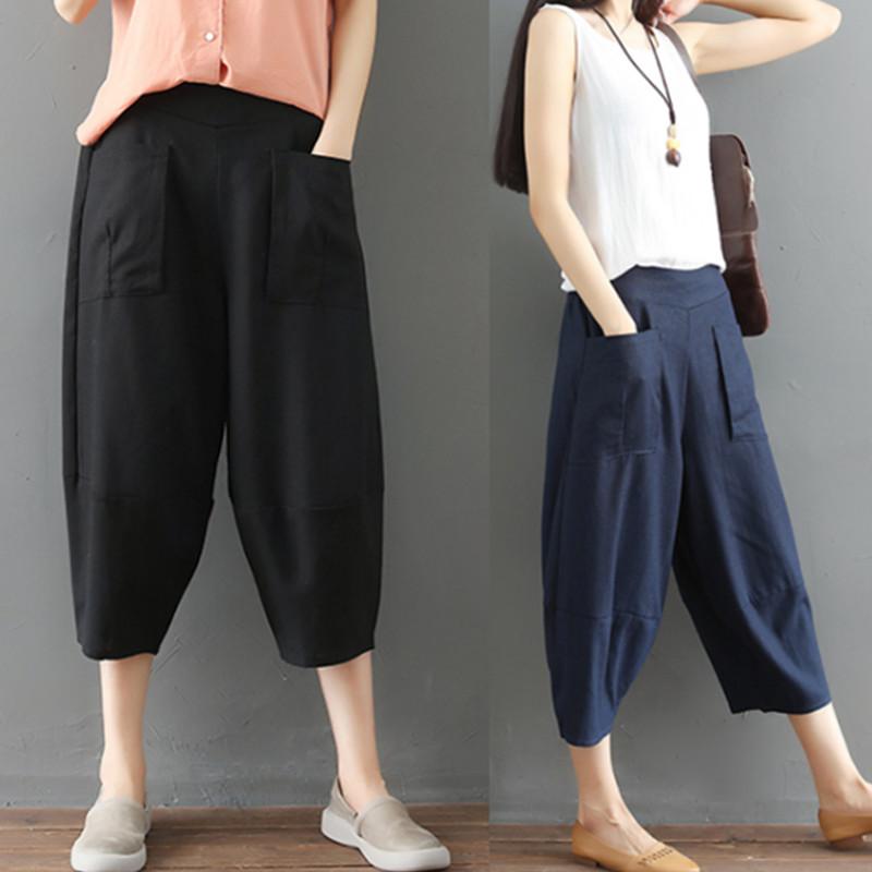 Văn học retro bông và vải lanh chín quần phụ nữ 2018 mùa hè chất béo MM lỏng kích thước lớn đàn hồi eo linen giải trí hậu cung quần