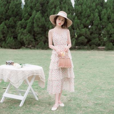 夏季新款女装流行裙子仙女裙超仙森系甜美碎花雪纺吊带连衣裙