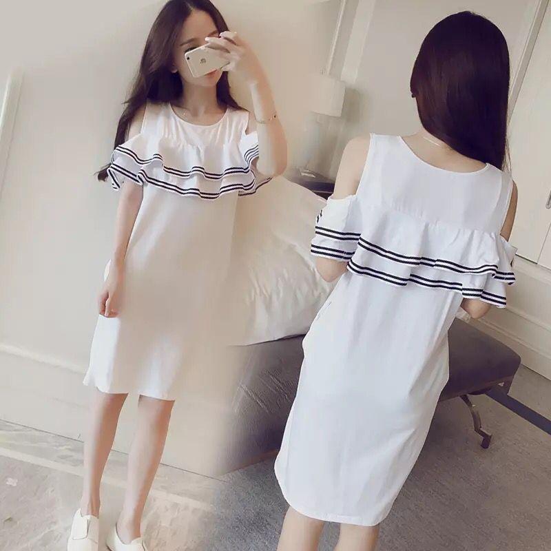 Đồ ngủ mùa hè cô gái thời trang xù dài váy nightdress có thể đi ra ngoài bông dịch vụ nhà mùa hè thủy triều