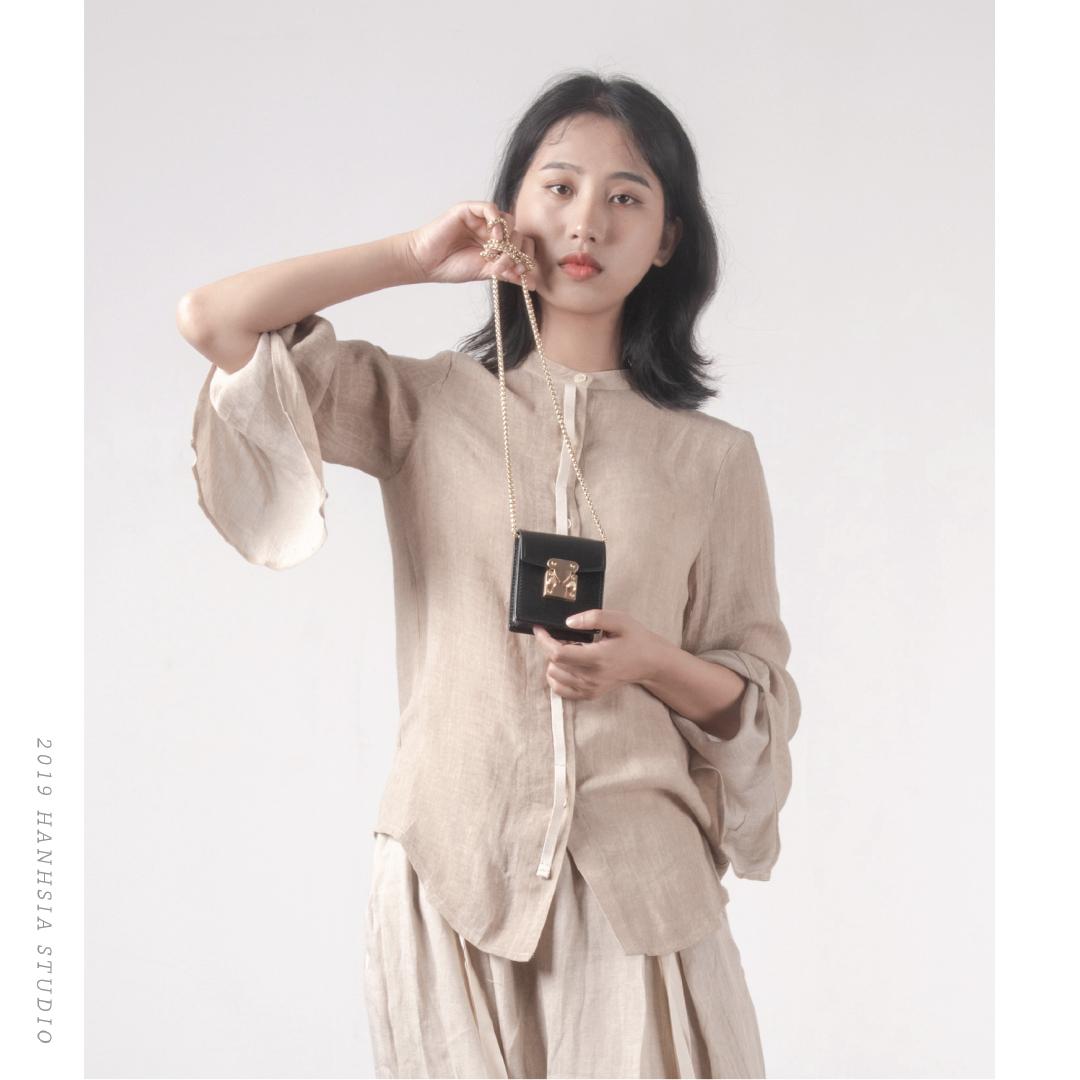 函夏 手工植鞣皮卡包女 真皮时尚单肩迷你方包 头层皮斜挎小包包