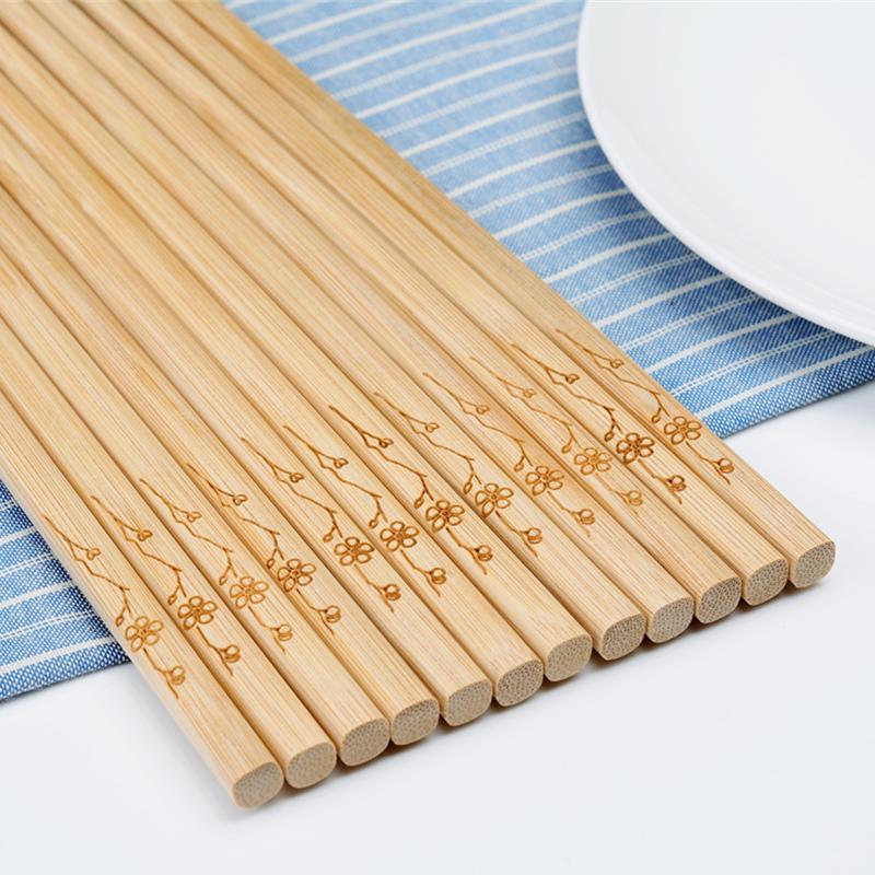 竹筷子家用10双竹木快子家庭装套装环保防霉竹子天然无漆无蜡筷子