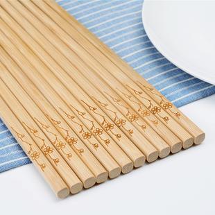 10双竹木天然无漆无蜡筷子