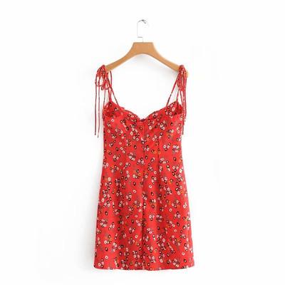 欧美新款海边渡假法式复古碎花红色连衣裙肩部系带裙沙滩裙女夏