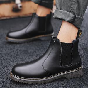 馬丁靴男高幫2018秋季英倫風百搭潮復古套腳皮鞋布洛克沙漠工裝鞋