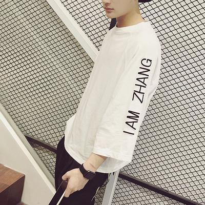 Mùa xuân và mùa hè bảy phần tám tay áo tay áo của người đàn ông áo thun phiên bản Hàn Quốc của áo sơ mi dài tay bat lỏng thanh niên sáu tay áo ngắn tay triều t áo thun nam đẹp Áo phông dài