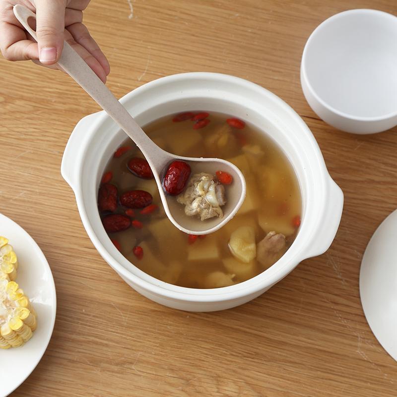 家用小麦秸秆汤勺粥勺创意厨房烹饪勺捞勺盛稀饭勺子日式饭勺锅勺