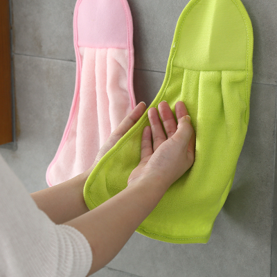 珊瑚绒擦手巾清洁抹布可爱儿童厨房可挂式毛巾加厚布吸水挂巾浴室