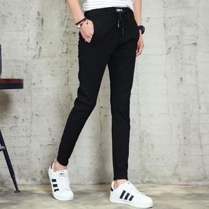 实拍夏季新款男式休闲裤橡筋弹力束脚裤男裤韩版九分裤