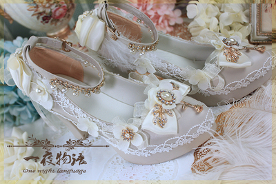 42agent Original [one night story] eternal glory Lolita dawn dreams hand-made flowers marry high heels can change color - Taobao