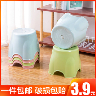 Thickened small stool plastic chair shoe replacement stool household small bench children's low stool sofa shoe stool adult round stool