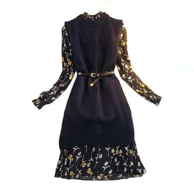 秋冬新款长袖碎花雪纺打底连衣裙女装中长款修身显瘦针织套装裙子