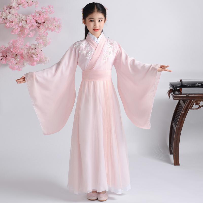 儿童古装女古筝演出服女汉服女童古装仙女装中国风古代衣服_淘宝优惠券