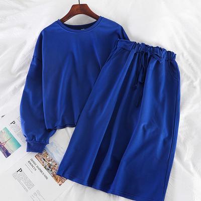K908韩系ins休闲简约圆领宽松上衣松紧高腰中长款半身裙两件套女