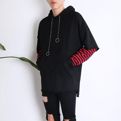 Mùa xuân Hàn Quốc trùm đầu áo thun Nhật Bản xu hướng giả hai mảnh áo len nam thanh niên áo khoác trùm đầu áo khoác sinh viên