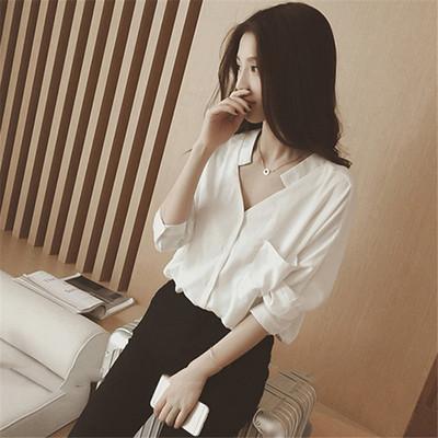 春装新款宽松休闲白色V领雪纺衬衫女长袖上衣打底衬衣潮