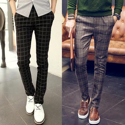 Mùa thu và mùa đông nam quần âu quần nam Mỏng của xu hướng quần thẳng thanh niên kẻ sọc chân quần nam Hàn Quốc phiên bản của quần dài Quần