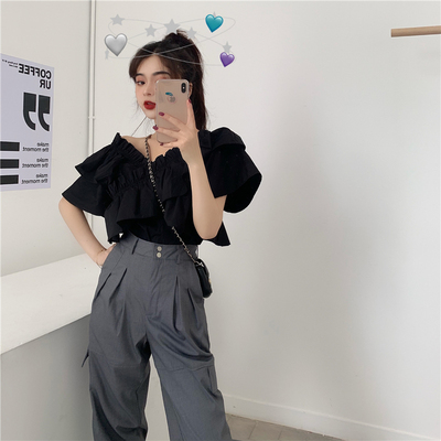 Summer 2019 new Korean version of the word collar black shirt + high waist tooling casual pants two-piece suit female tide