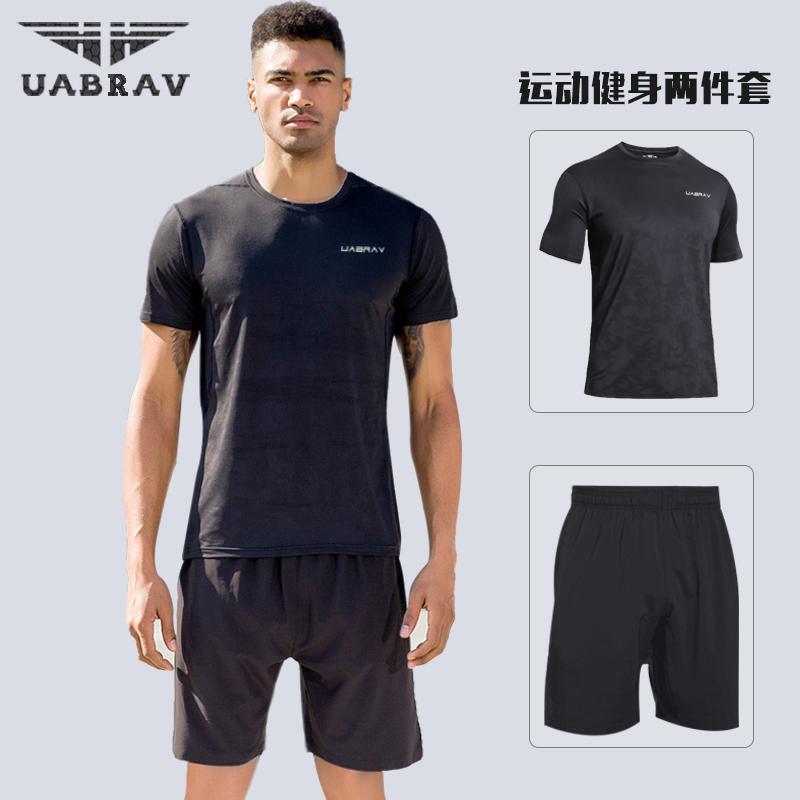 Thể thao phù hợp với nam giới mùa hè mỏng chạy thể dục quần áo ngắn tay năm- điểm quần short nhanh chóng làm khô t- áo sơ mi thể thao mùa hè quần áo