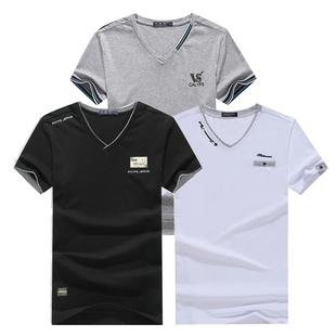 夏季2018新款韩版男士短袖v领修身