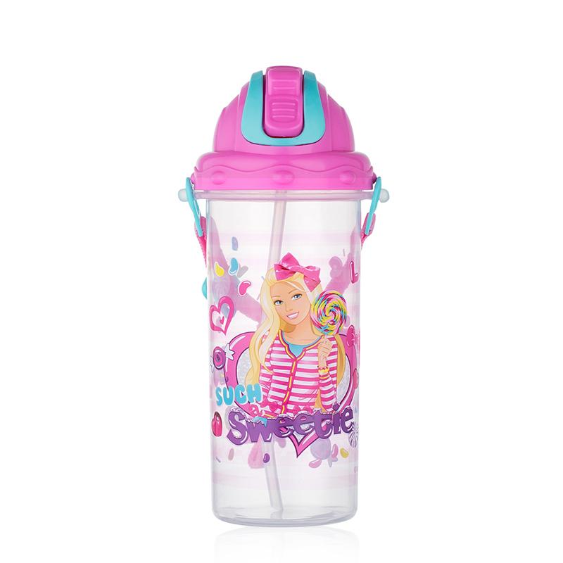 芭芘水杯儿童夏季水杯子女带吸管便携学生婴童水壶塑料杯防漏水瓶