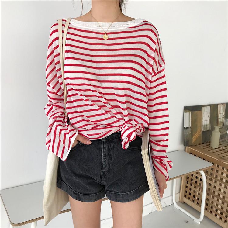 夏季新款韩国chic拼色条纹薄款套头针织衫冰丝防晒衣休闲百搭上衣