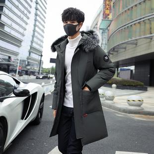 冬季韩版中长款羽绒服男士休闲外套棉袄棉服