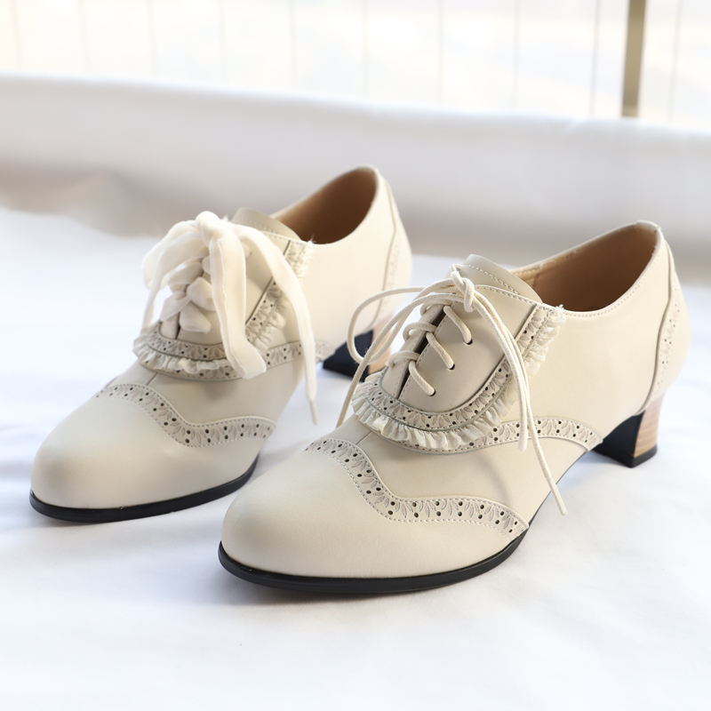 42agent Original Brock style carved lace stitching British wind small shoes female thick with low heel 3031 - Taobao
