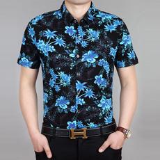 特价2018夏季薄款中年男士短袖衬衫商务宽松休闲半袖衬衣男装