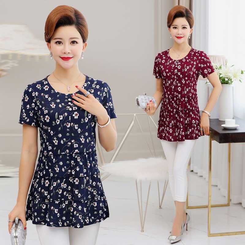 Hàn quốc phiên bản của mẹ trung niên mùa hè nhỏ hoa voan áo trung niên phụ nữ của mùa hè ăn mặc 40-50 năm tuổi ngắn tay T-Shirt