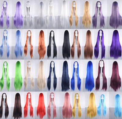 taobao agent Universal animation cosplay wig with bangs 80cm long straight hair costume universal cos headgear fake hair