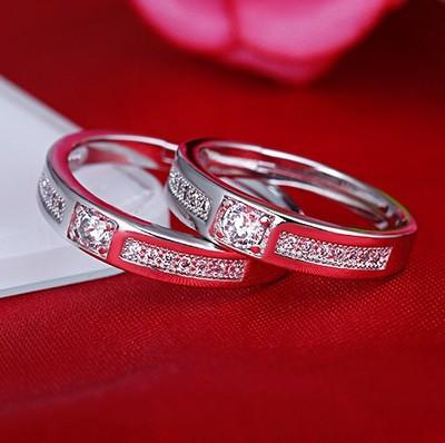 925纯银戒指 镶钻款男女情侣开口戒一对活口结婚戒指钻戒银饰刻字