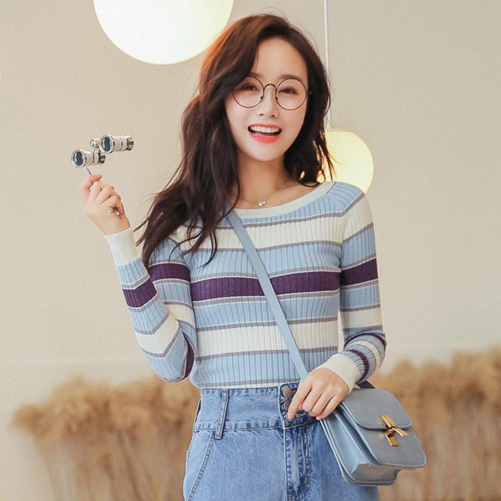 实拍2009#秋季新款韩版修身显瘦条纹长袖低圆领针织衫打底衫