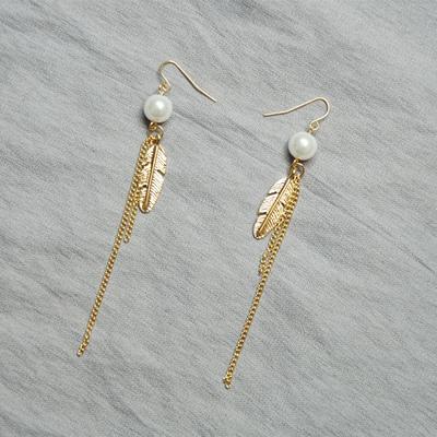 复古原创设计 摩登时尚 木珠 珍珠 羽毛链条流苏耳环 耳坠女耳饰