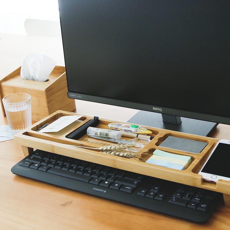 电脑键盘收纳架办公室桌面整理办公桌文具增高置物架子省空间
