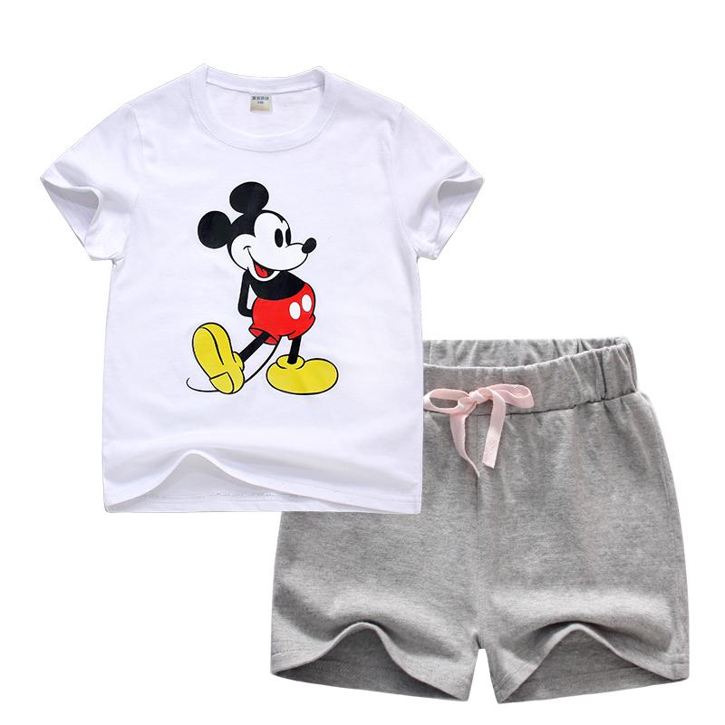 男童套装中小童女童纯棉短袖T恤<font color='red'><b>短裤</b></font>两件套