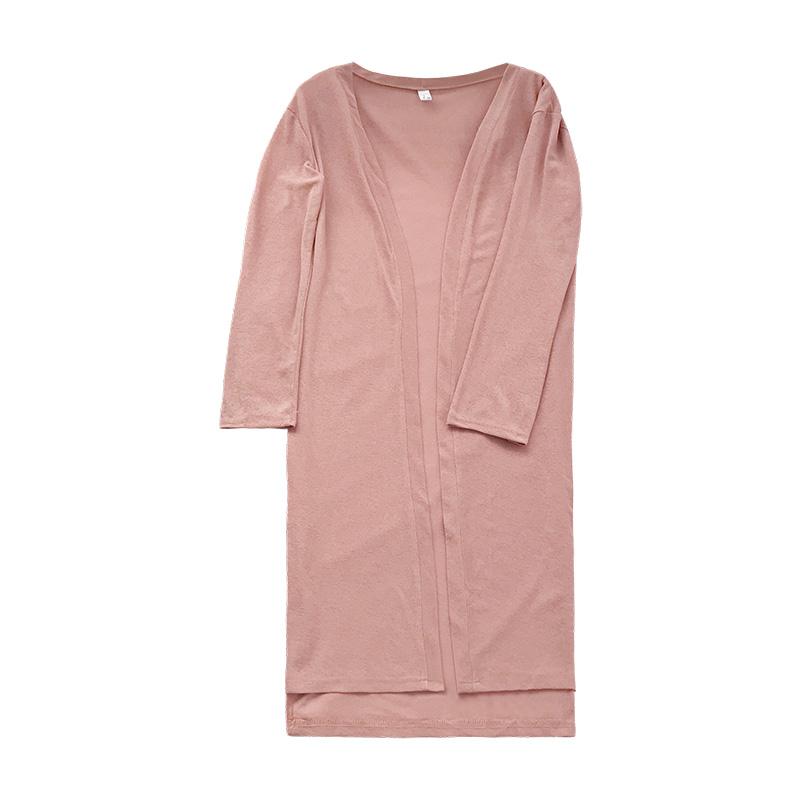 2018 mùa hè mới bên chia hem lỏng băng lụa đan áo khoác cardigan phần dài bên ngoài kem chống nắng mỏng áo choàng