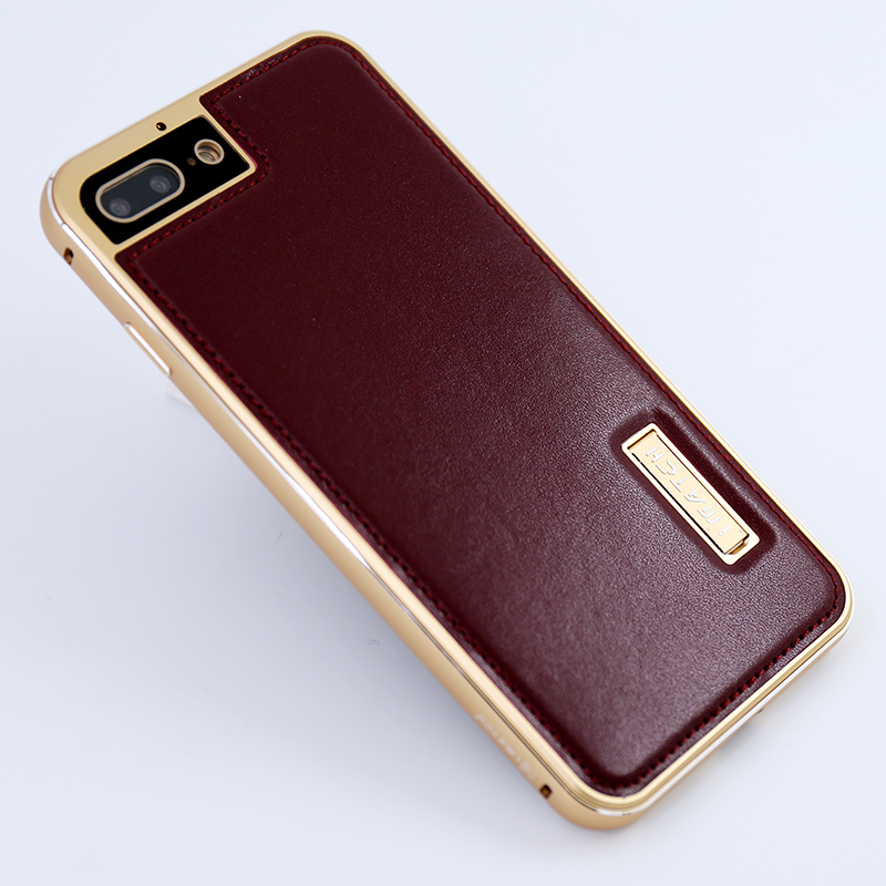 iMatch Luxury Aluminum Metal Bumper Premium Genuine Leather Back Cover Case for Apple iPhone 8 Plus & iPhone 8