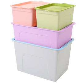 炫彩桌面收纳盒四件套杂物零食化妆品收纳箱