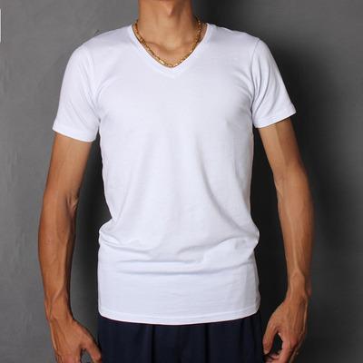 Modal cotton siêu mỏng ngắn tay t-shirt nam đáy áo V-Cổ màu trắng tinh khiết dài tay mùa hè ăn mặc nửa tay áo thun polo nam Áo phông dài