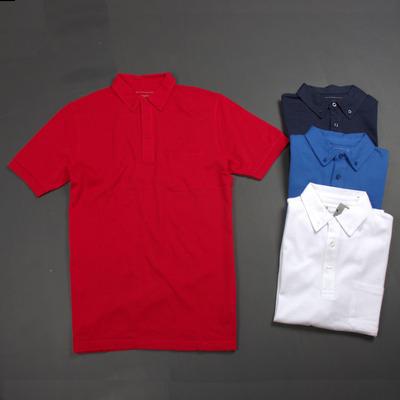 300 kg kinh doanh đơn giản lưới thoáng khí màu rắn hạt bông cao cấp của nam giới ve áo dài ngắn tay T-Shirt áo thun polo Áo phông ngắn