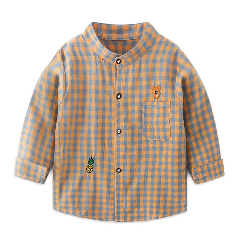 男童长袖格子衬衫2019秋装新款儿童装刺绣熊头格子衬衫宝宝学院风