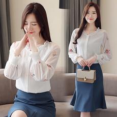 实拍新款荷叶领小清新女2019春季新款韩版灯笼袖雪纺衫洋气小衫