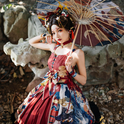 taobao agent Star cat original design Chinese style lolita skirt Datang mysterious come to JSK【Final page】