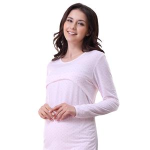 美丽日子夏季薄款月子服产后孕妇长袖哺乳睡衣产妇喂奶居家服套装