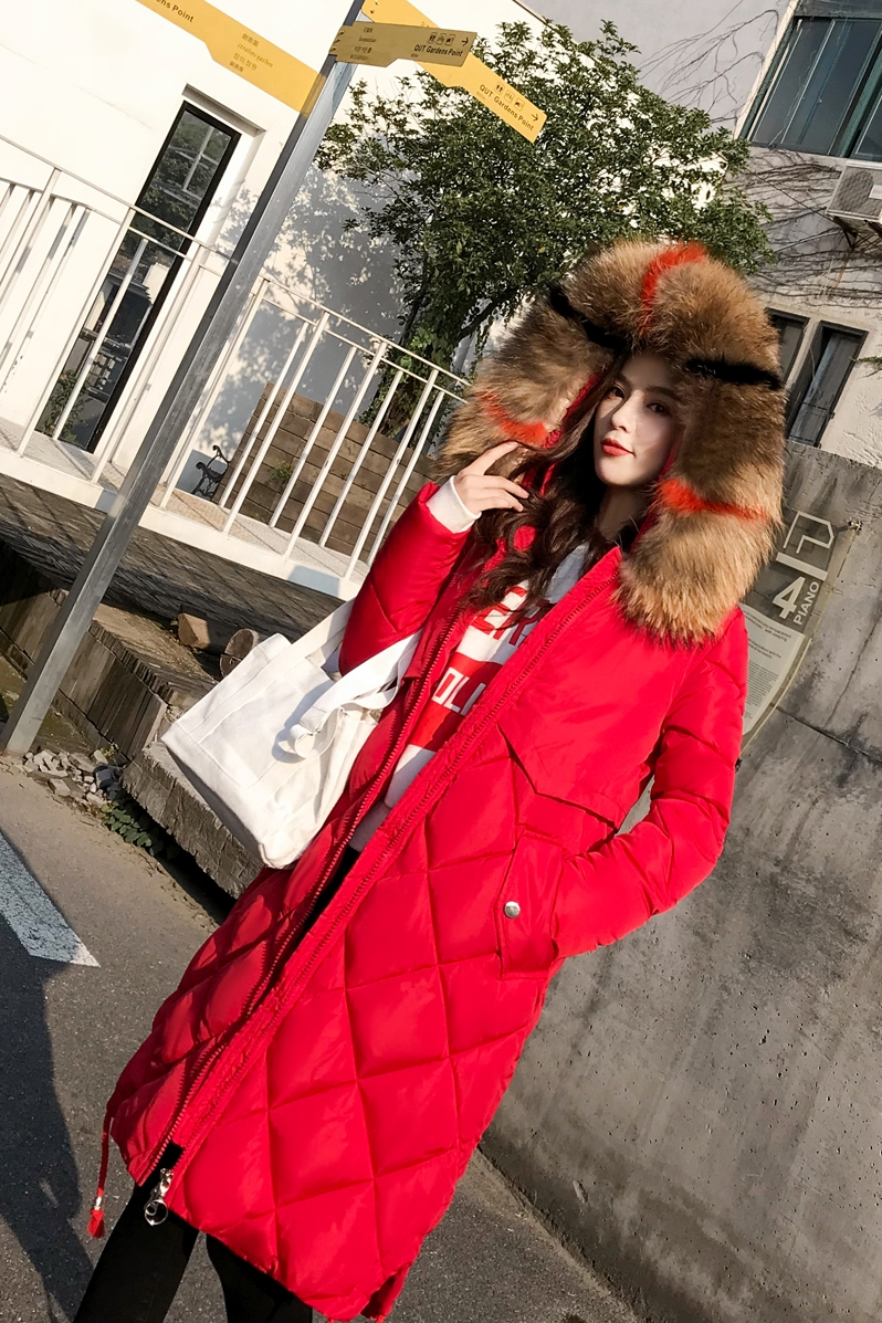 Chống mùa bông phụ nữ mùa đông phần dài dày Hàn Quốc phiên bản của tự trồng lớn lông cổ áo xuống bông pad kích thước lớn bông áo khoác áo khoác thủy triều Bông