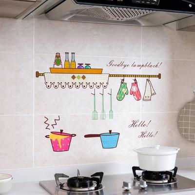 煤气灶透明防油贴纸家用墙面装饰贴 厨房灶台耐高温自粘防水墙贴
