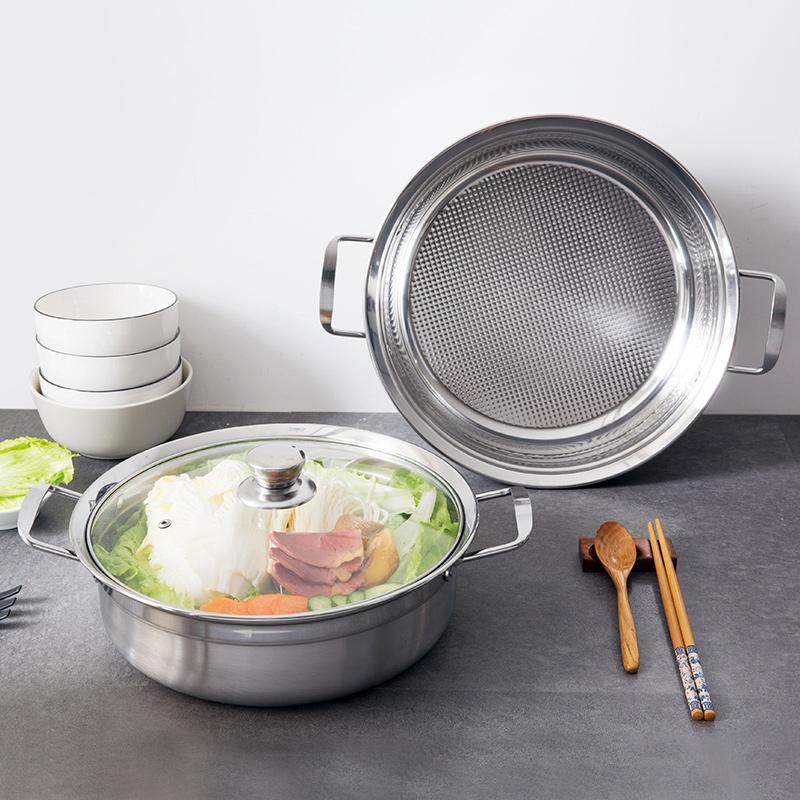 不锈钢双耳汤锅电磁炉锅具蒸锅家用厨房用品不锈钢锅火锅电磁炉锅